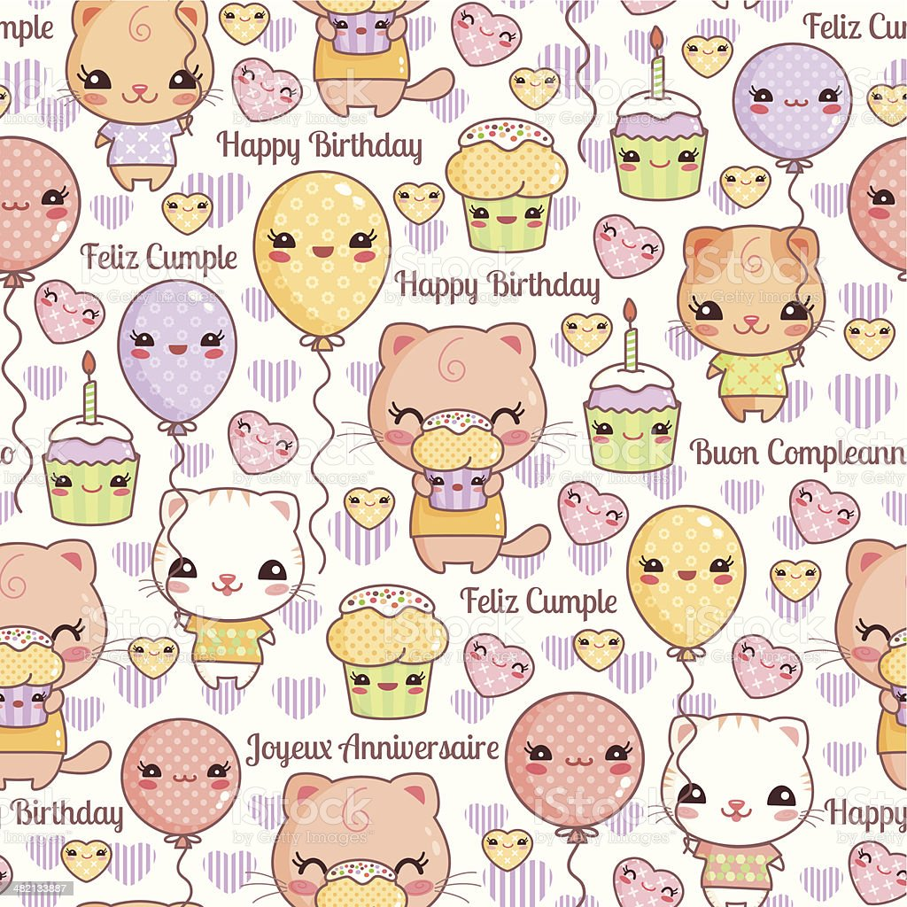 Kawaii Cats Birthday Party Stock Vector Art & More Images
