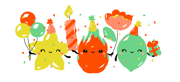 Kawaii characters of star fruit, dragon fruit and lime celebrating birthday party. Happy fruits with cute gifts. Vector illustration for greeting card or poster