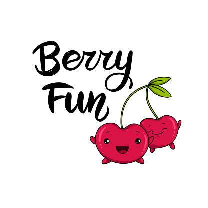 Kawaii cherry cartoon vector illustration, cute summer berry smiling for logo, poster, banner, logo, icon, textile print, kids t-shirt, invitation, organic food materials, healthy fruit nutrition