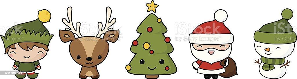 Kawaii Christmas.Kawaii Christmas Icons Stock Illustration Download Image