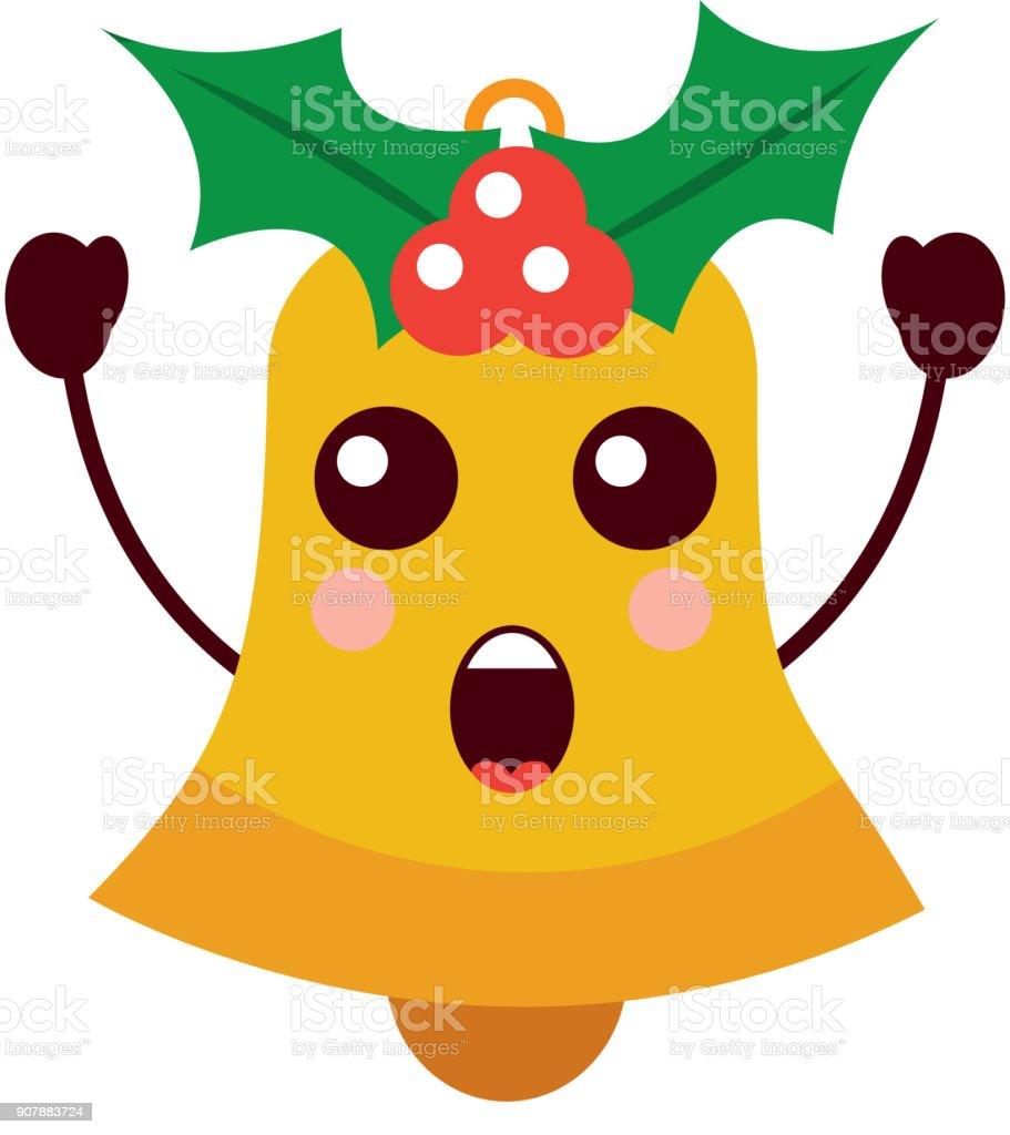 Kawaii Christmas Jingle Bell Surprise Expression Stock Vector Art ...