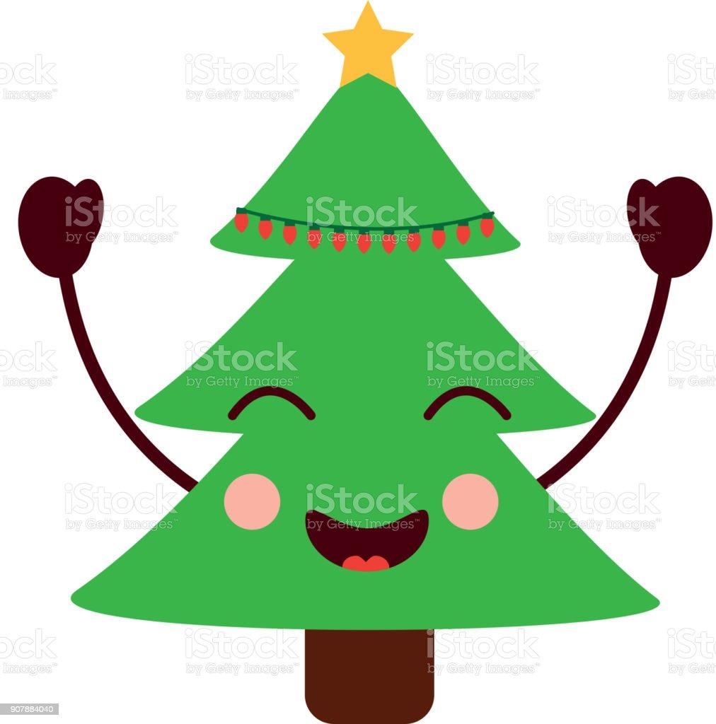 Célébration De Dessin Animé Pour Le Sapin De Noël Kawaii