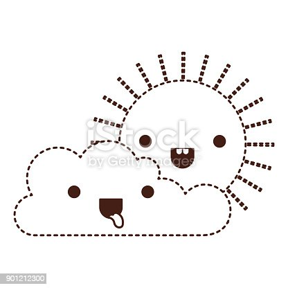 Kawaii Anime Manga Sevimli Cizgi Gulumseyen Gunes Bulutlar Gokyuzu