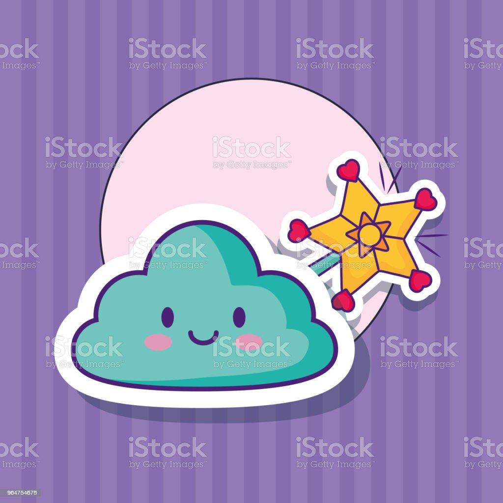 Kawaii cloud design royalty-free kawaii cloud design stock illustration - download image now