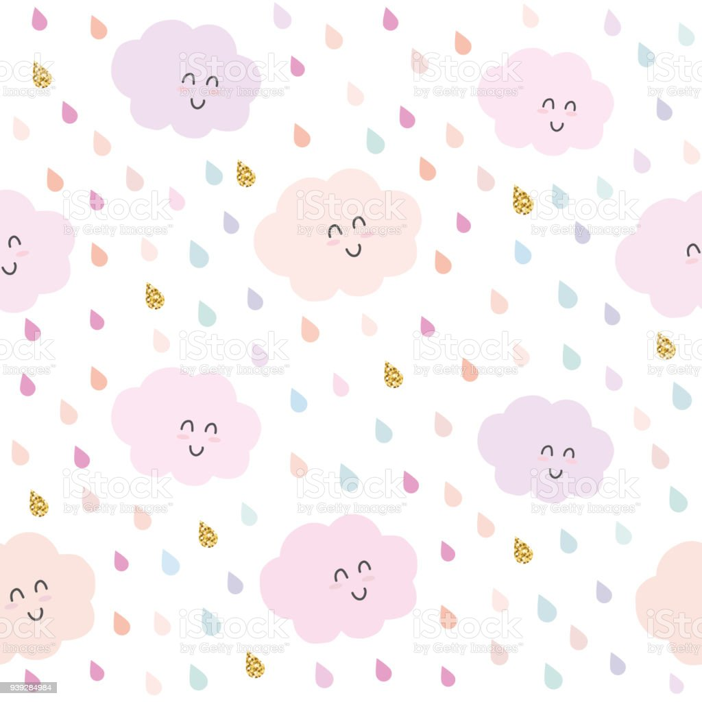 Kawaii Nuages Et Gouttes Glitter Et Sans Soudure De Fond En Rose