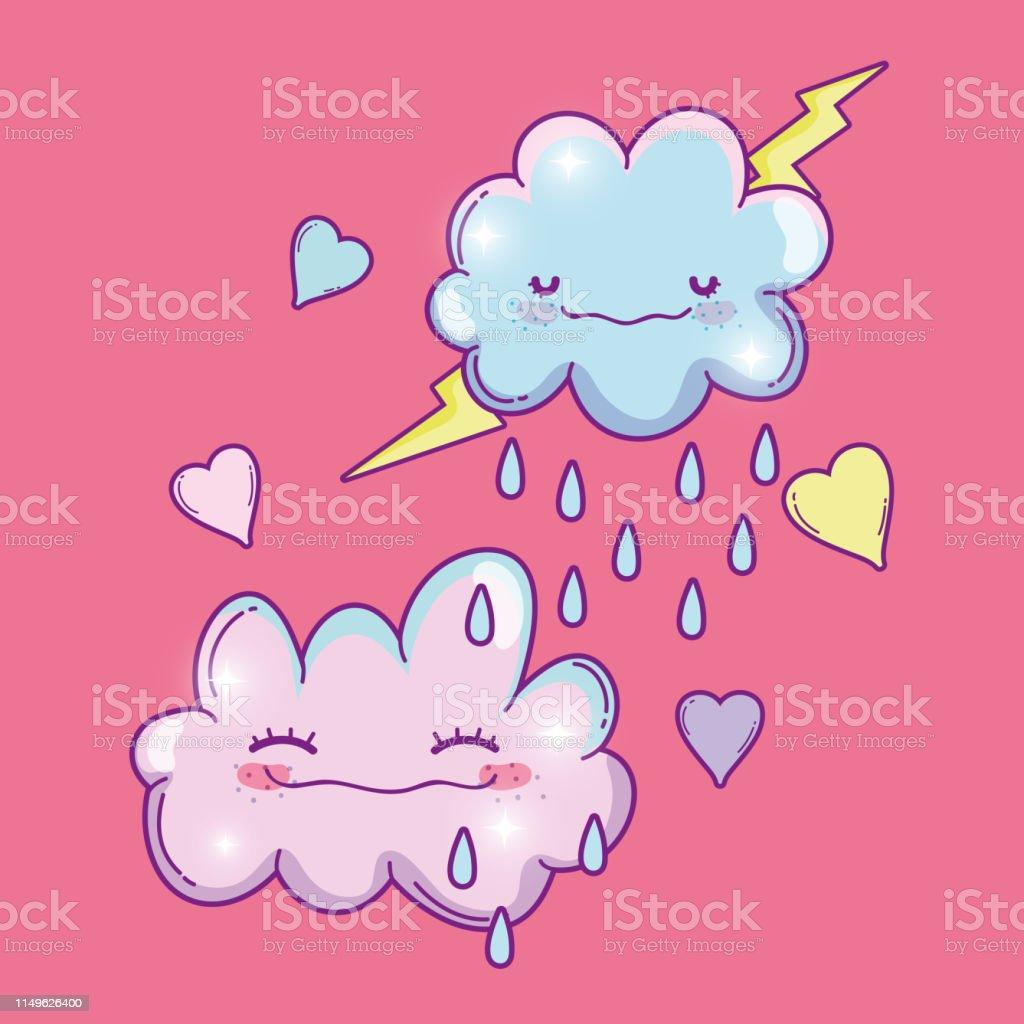 雷が降っているふわふわした可愛い雲 ふわふわのベクターアート素材や画像を多数ご用意 Istock