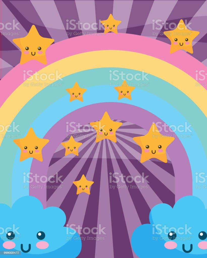 かわいい雲虹星漫画サンバースト - イラストレーションのベクターアート