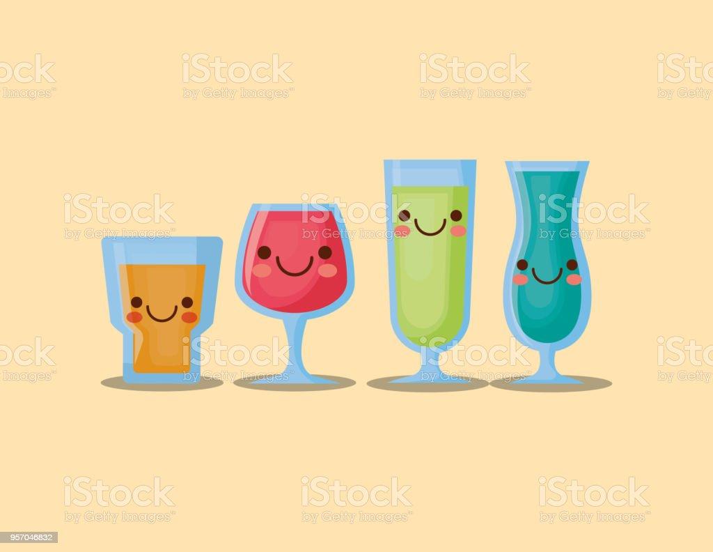 Kawaiicocktails Stock Vektor Art und mehr Bilder von Alkoholisches ...