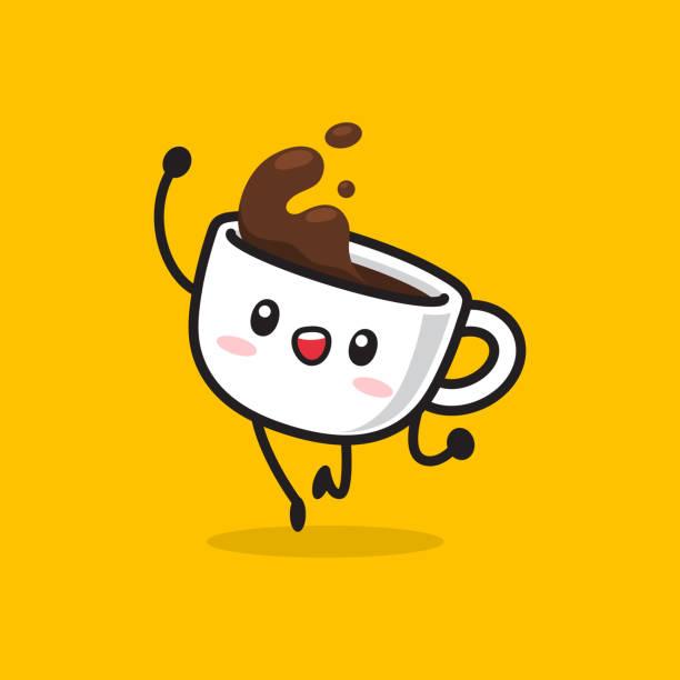 ilustrações, clipart, desenhos animados e ícones de caráter do copo de café de kawaii na ação do divertimento - café
