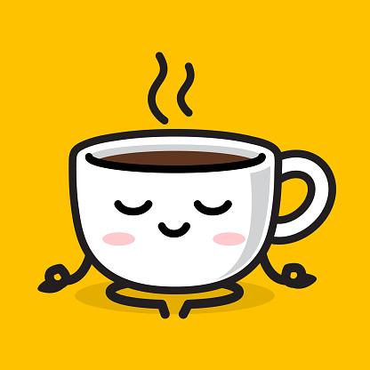 Kawaii coffee cup character in meditate pose