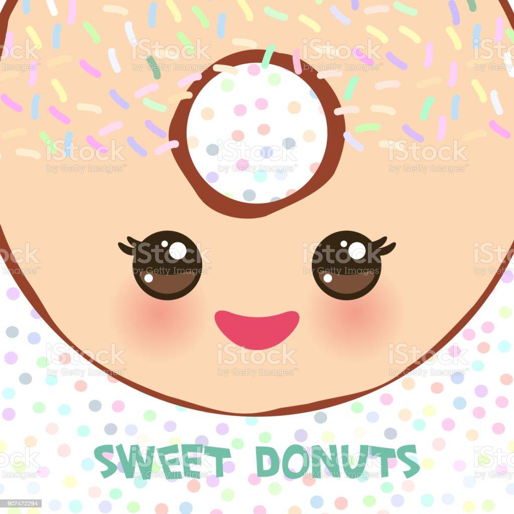 Ilustración de Kawaii Colorida Donut Con Mejillas Rosadas Y Ojos ...