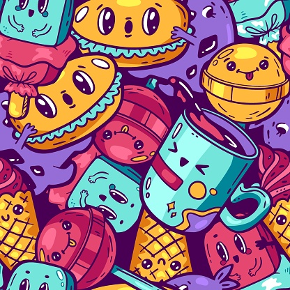 Kawaii colorful food seamless pattern. Cartoon style doodle sweety characters. Emotional faces icon candy shop. Hand drawn illustration funny background. Nursery decoration, print, fabric. Vector art