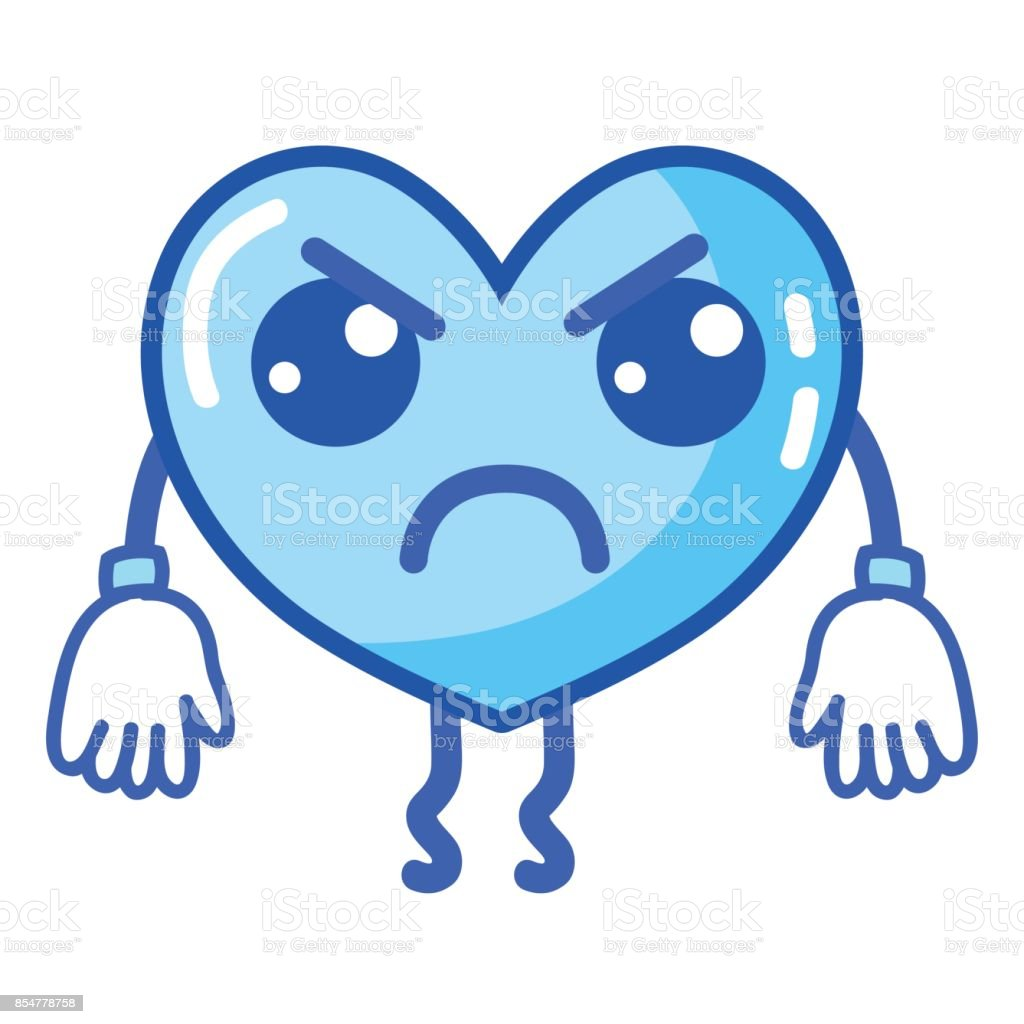 kawaii cute angry heart with arms and legs vector art illustration