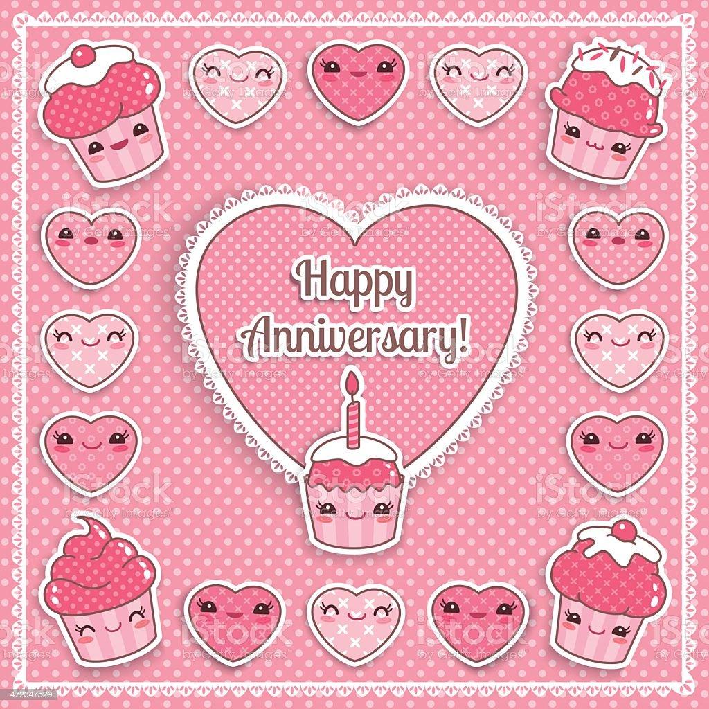 Completement Kawaii Jolie Carte Danniversaire De Mariage Vecteurs Libres De Droits Et Plus D Images Vectorielles De Amour Istock