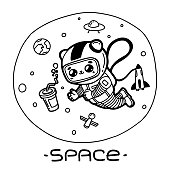 Kawaii cute cartoon сosmonaut cat reaches for cola in space. Funny character. Vector illustration black line isolated on white background. Print, poster, sticker, banner, coloring book