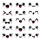 Kawaii cute faces, Kawaii emoticons, adorable characters design