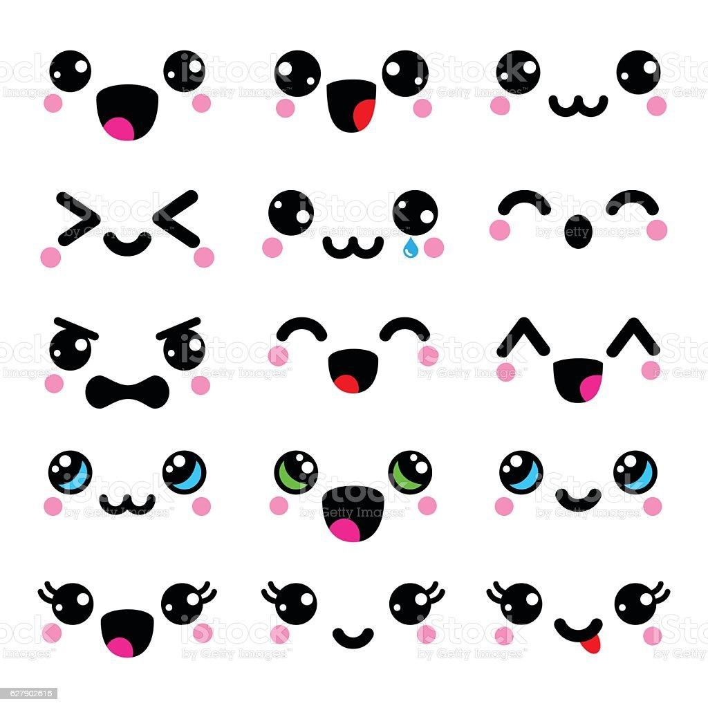 Kawaii cute faces, Kawaii emoticons, adorable characters design ベクターアートイラスト