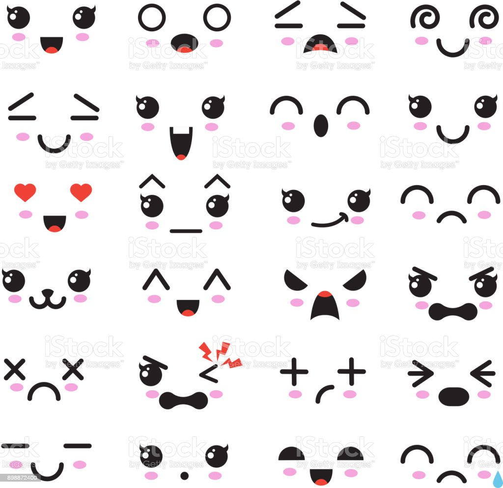 Kawaii cute faces manga style eyes and mouths funny cartoon japanese emoticon in in