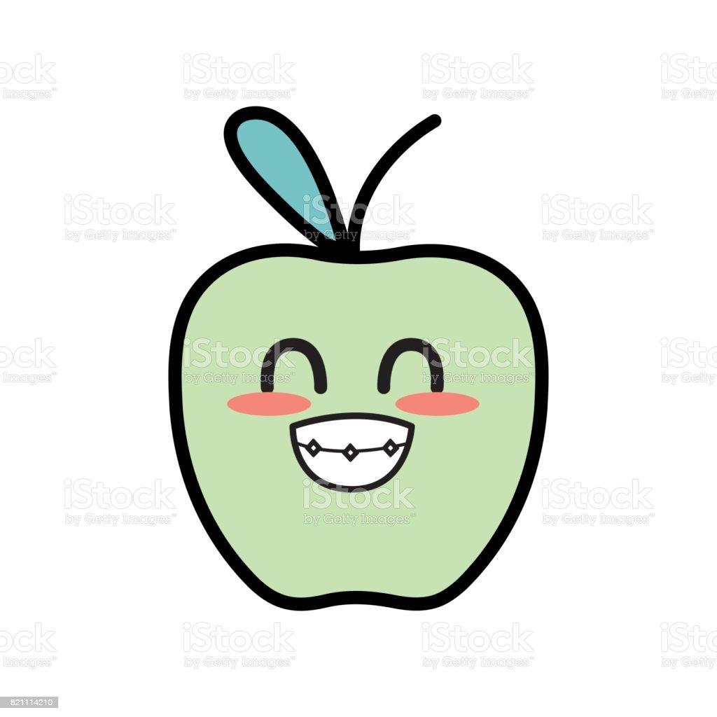 かわいいかわいい面白いリンゴ果実 みずみずしいのベクターアート素材