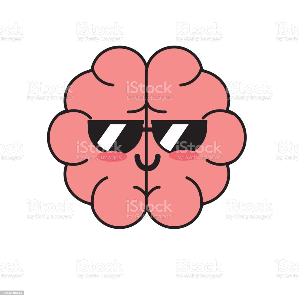 kawaii cute funny brain anatomy organ vector art illustration