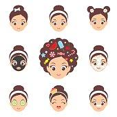 Kawaii cute girl face icons