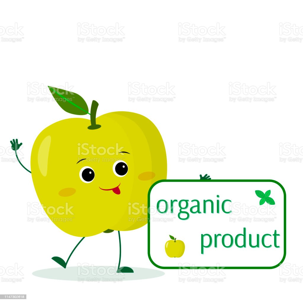 Kawaii Mignon Vert Pomme De Fruit De Caractère De Dessin