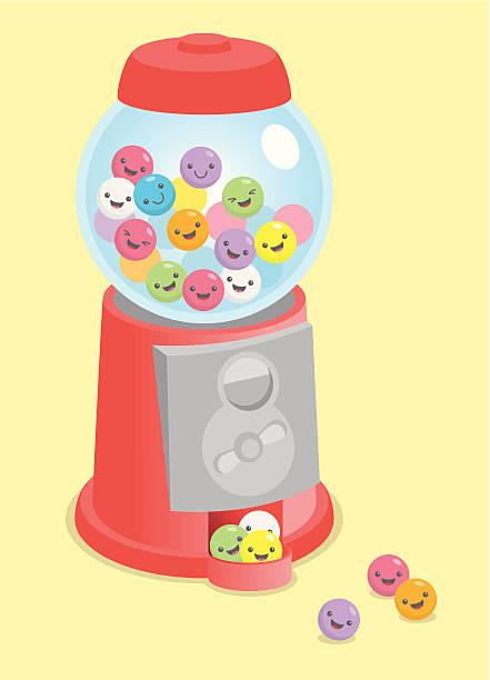 Kawaii cute gumball machine vector art illustration