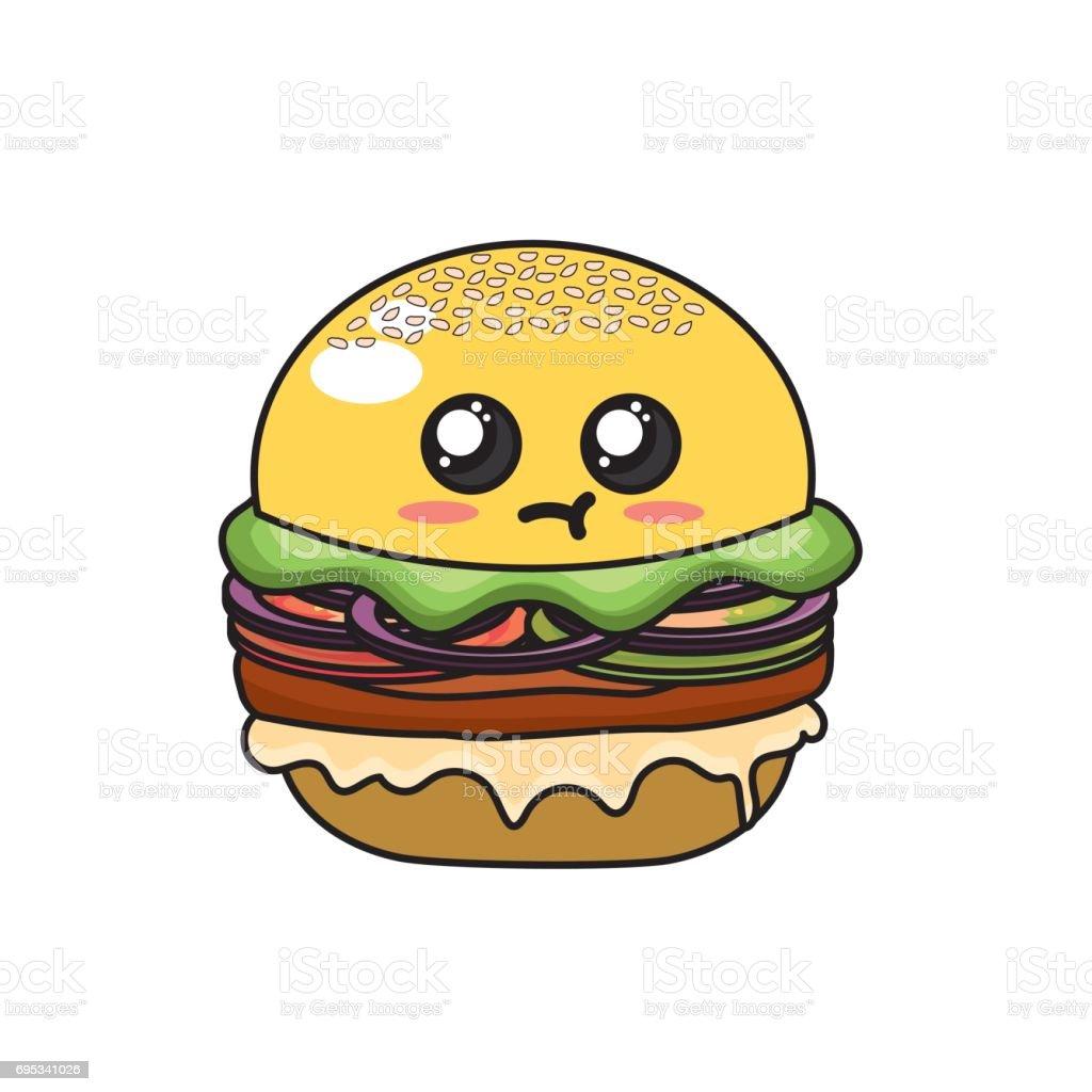 Kawaii Cute Hamburger Fastfood Vecteurs Libres De Droits Et Plus D Images Vectorielles De Affectueux Istock