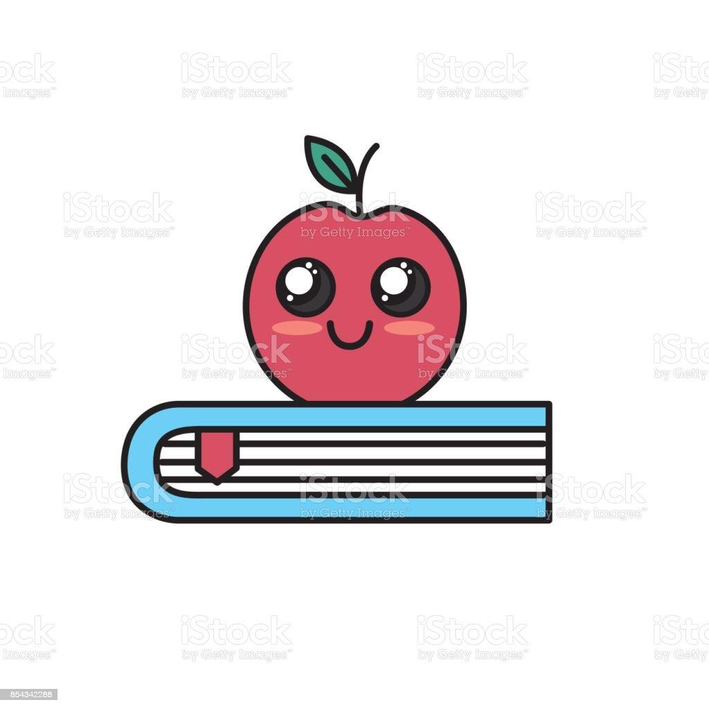 Kawaii Cute Heureux Apple Sur Livre Vecteurs Libres De