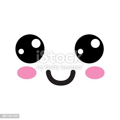 kawaii cute happy face with mouth and cheeks stock vector