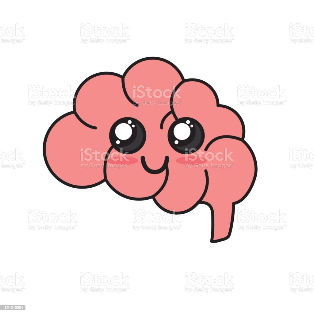 kawaii cute happy side brain vector art illustration