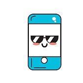 kawaii cute happy smartphone with glasses technology