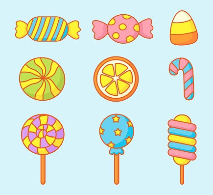 kawaii Cute Pastel Set of candy sweets desserts with different types isolated on blue Background for cafe or restaurant. illustration Vector.