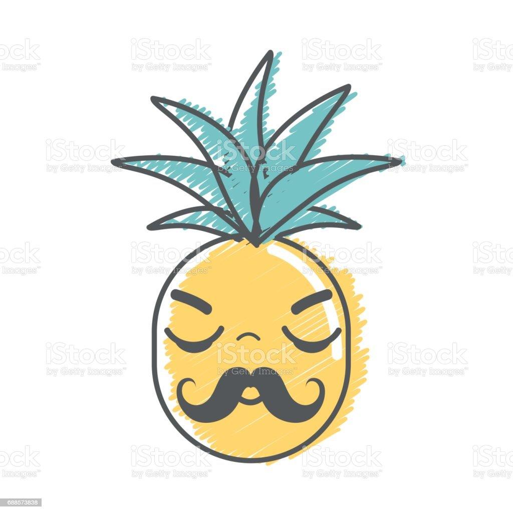 Kawaii Cute Sleeping Pineapple Vegetable Stock Illustration