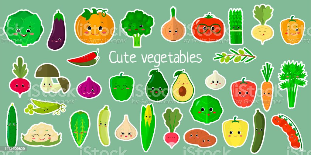 Kawaii cute vegetables and herbs, the faces of the characters of the...