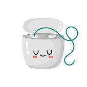 istock kawaii dental floss. cute character in cartoon style 1334749444
