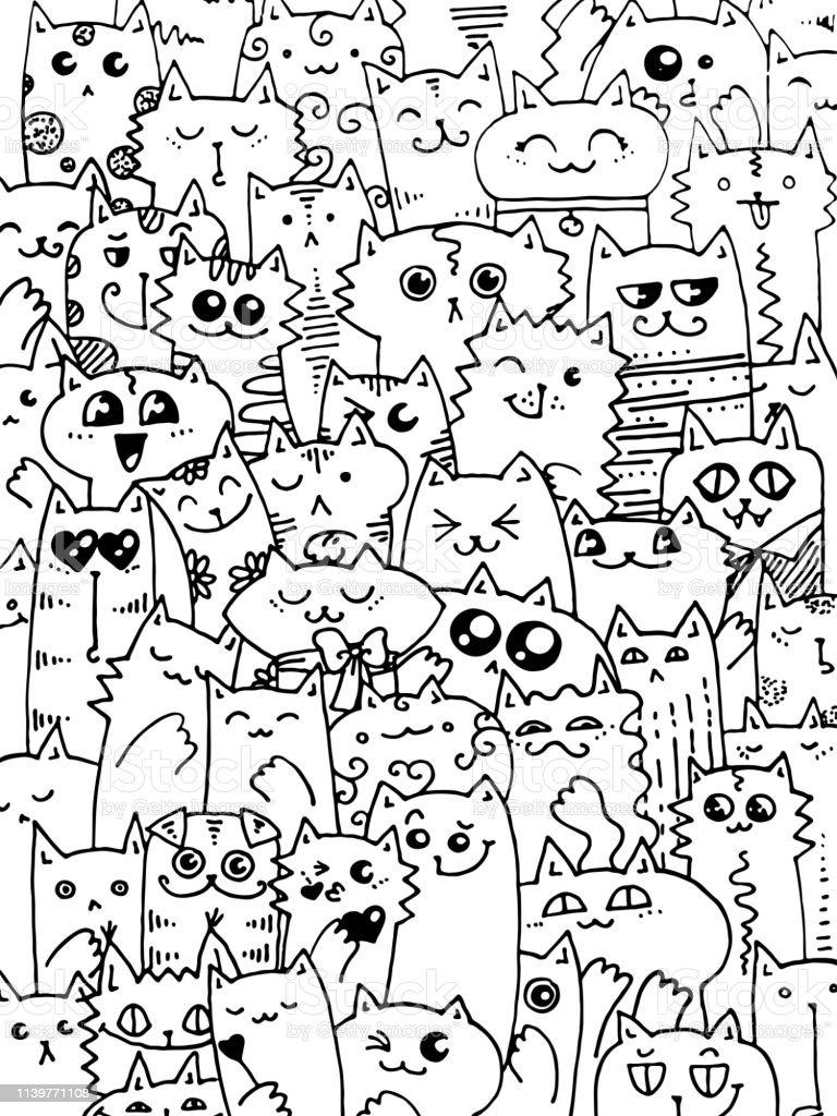Ilustración De Patrón De Gatos Kawaii Doodle Lindo Fondo Animal