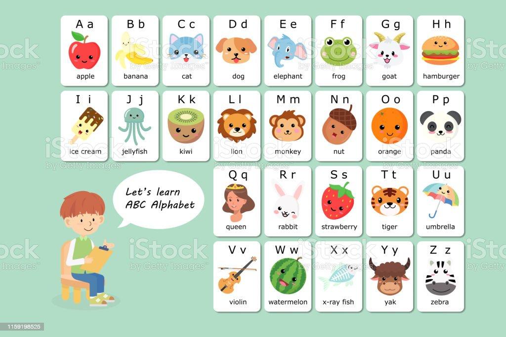Kawaii English Vocabulary And Alphabet Flash Card Vector For ...