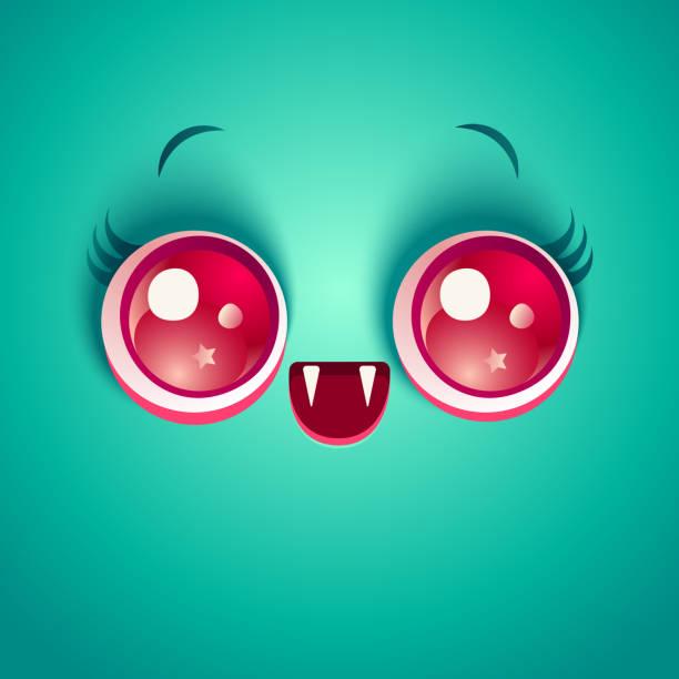 吸血鬼のかわいい顔 - 漫画のモンスター点のイラスト素材/クリップアート素材/マンガ素材/アイコン素材