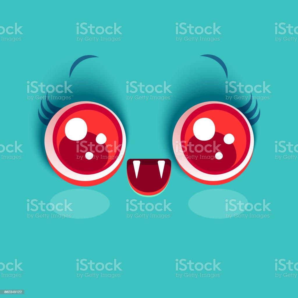 Kawaii face of vampire vector art illustration