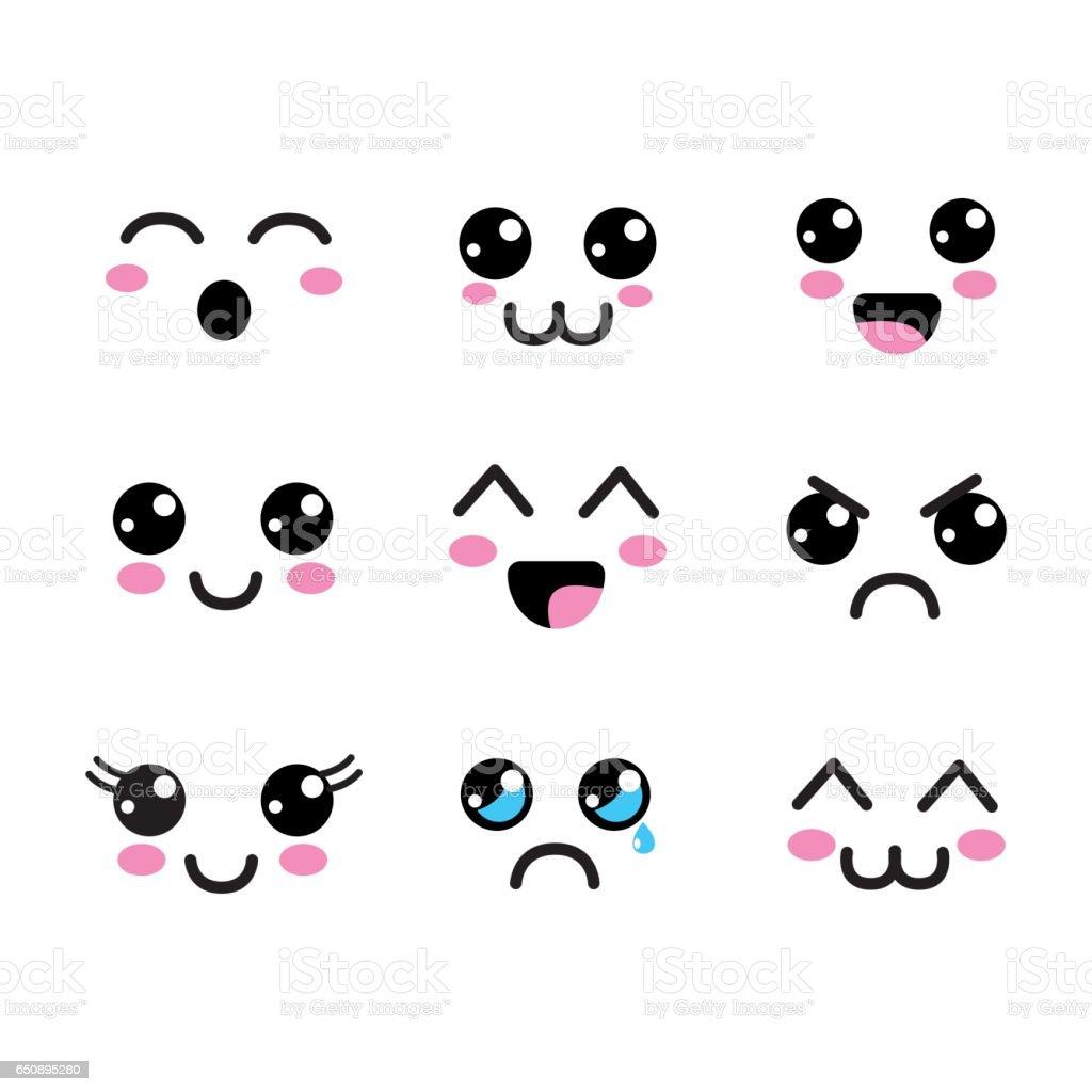 ícone de olhos rostos kawaii - ilustração de arte em vetor