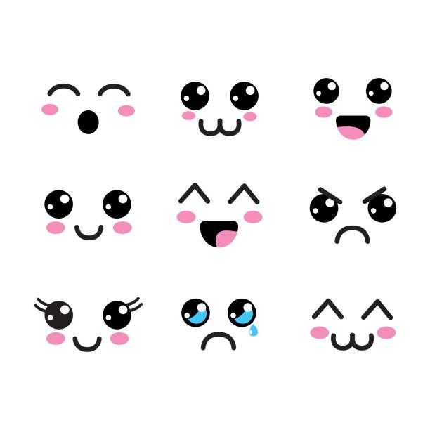 kawaii faces eyes icon - cute stock illustrations