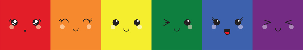 kawaii faces rainbow