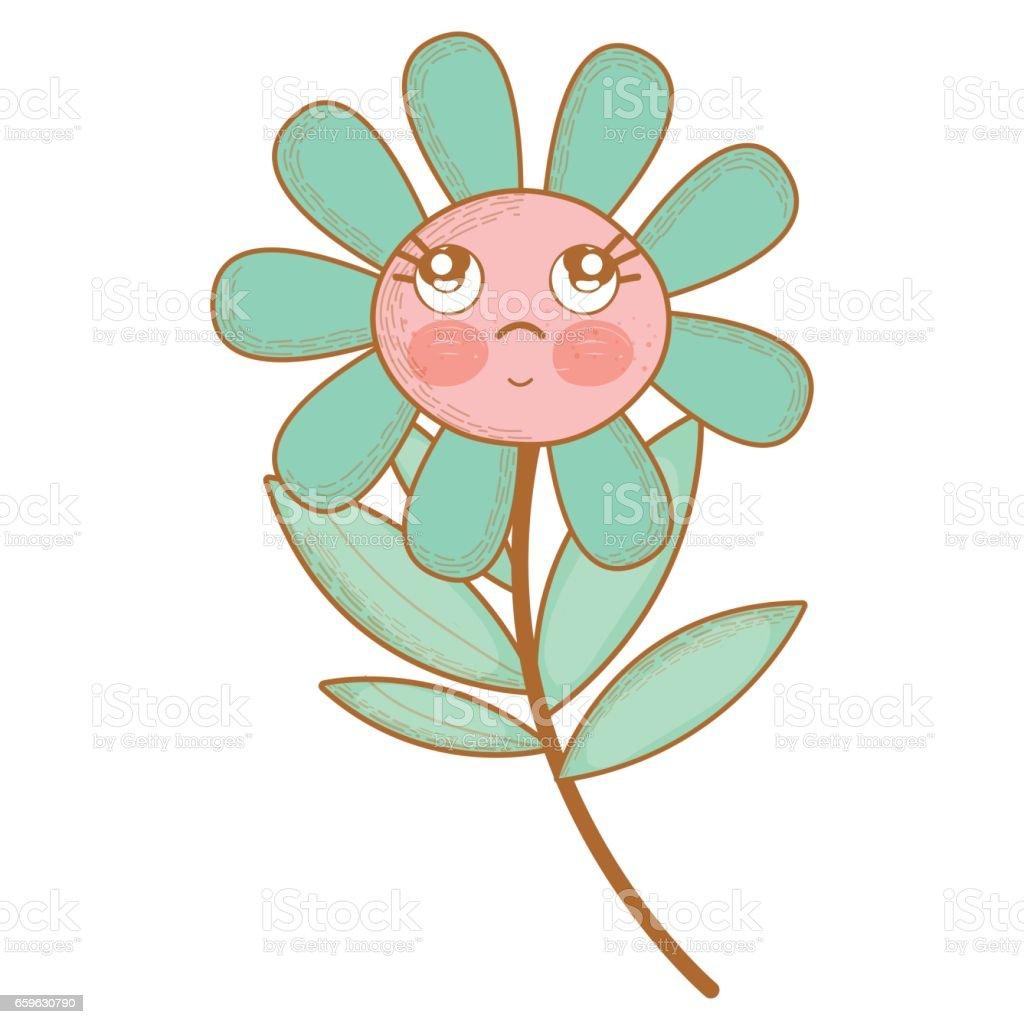 頬と目で考えるかわいい花植物 イラストレーションのベクターアート