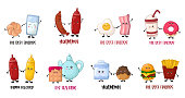Card templates with coples of cartoon kawaii food characters - bun and milk, egg and bacon, coffe and donut on white background, cute characters. Vector flat illustration