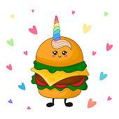 Cartoon kawaii fast food - unicorn hamburger on white background, card template with cute character with rainbow horn. Vector flat illustration