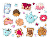Set of kawaii sticker or patch with food - sweets or desserts, cute isolated characters on white backgriund. Donut, cake, toast, milk, tea or coffee. Vector flat