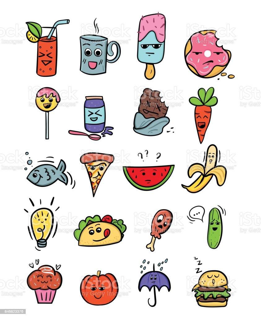 Ilustración De Set De Comida Kawaii Ilustraciones De Dibujos
