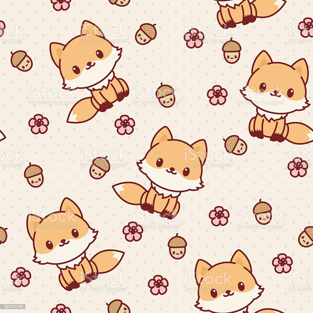 Image of: Cute Kawaii Kawaii Fox Seamless Wallpaper Vector Pattern Royaltyfree Kawaii Fox Seamless Wallpaper Vector Istock Kawaii Fox Seamless Wallpaper Vector Pattern Stock Vector Art More