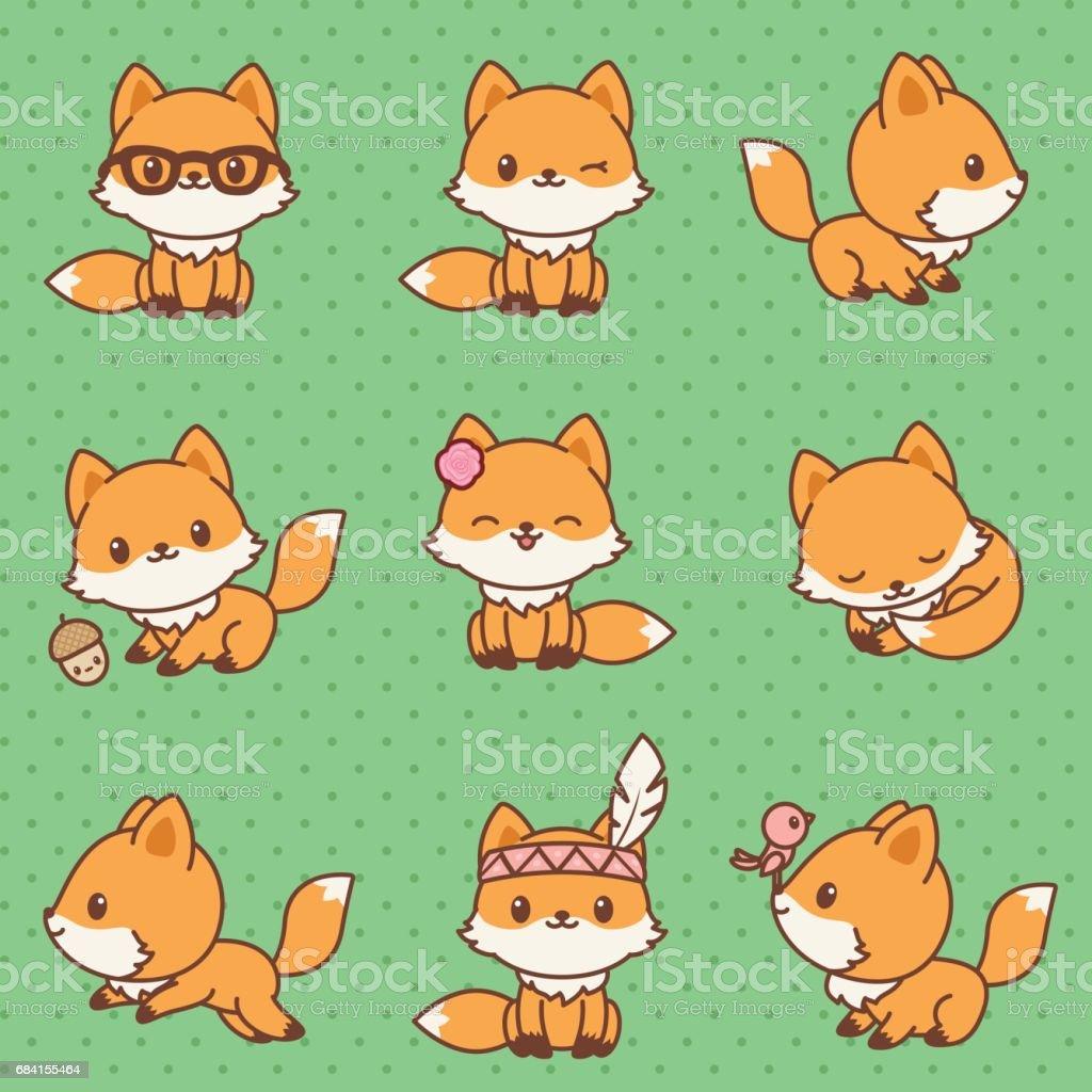 Kawaii foxes collection kawaii foxes collection - stockowe grafiki wektorowe i więcej obrazów dowcip rysunkowy royalty-free